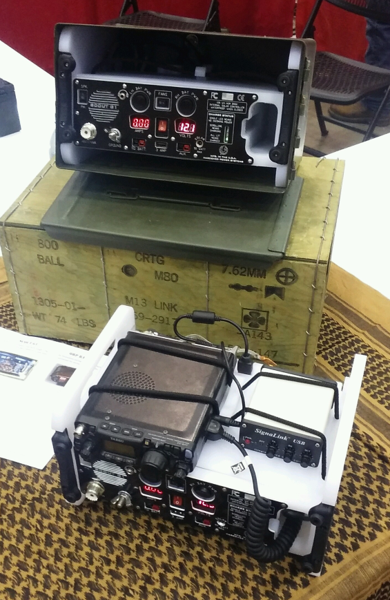 Two Scout G1's at the Huntsville HAMfest... the Yaesu 817 and a SignaLink USB mount securely, without tools...